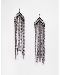ASOS | Metallic Statement Chain Fringe Earrings | Lyst
