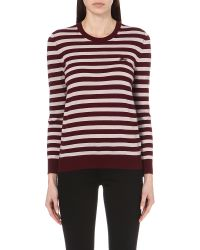 Burberry | Red Striped Cashmere Jumper | Lyst