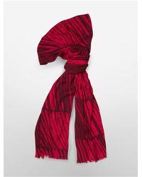 Calvin Klein - Red White Label Lightweight Night Shadow Stripe Scarf - Lyst