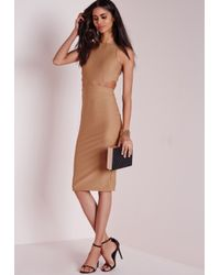 Missguided | Natural Crepe Sleeveless Cut Out Midi Dress Camel | Lyst