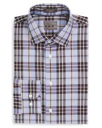 Calibrate - Blue Trim Fit Non-iron Plaid Dress Shirt for Men - Lyst