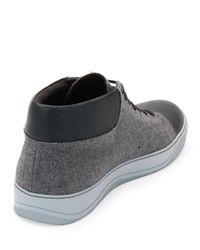 Lanvin - Gray Flannel High-top Sneaker - Lyst