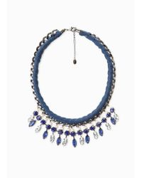 Violeta by Mango | Blue Crystal Chain Choker | Lyst