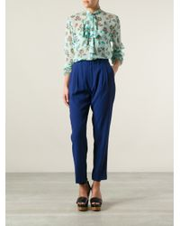 MSGM - Blue Pussy Bow Blouse - Lyst