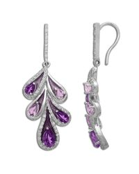 Lord & Taylor | Purple Sterling Silver Amethyst And White Topaz Drop Earrings | Lyst