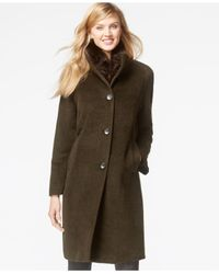 Jones New York | Green Faux-fur-scarf Walker Coat With Removable Scarf | Lyst