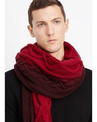 Vince Red Wool Cashmere Cable Knit Dégradé Scarf for men