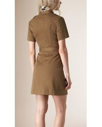 Burberry - Green Stretch Cotton Utility Dress - Lyst