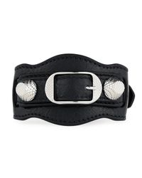 Balenciaga Black Giant 12 Leather Buckle Bracelet