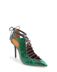Malone Souliers - Green 'montana' Lace-up Pointy Toe Pump - Lyst