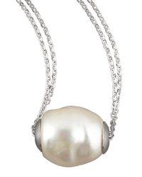 Majorica Metallic Baroque Pearl Pendant Necklace