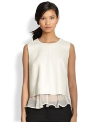 Elizabeth and James | White Tierney Silk Chiffonruffled Leather Top | Lyst