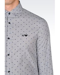 Armani Jeans | Black Slim Fit Cotton Shirt With Logo Pattern for Men | Lyst