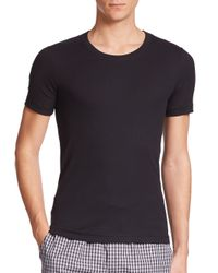 Hanro | Black Ribbed Crewneck Tee for Men | Lyst