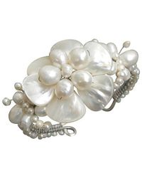 Aeravida | Metallic Fabulous Handmade White Shell Flower & Pearl Beaded Cuff | Lyst