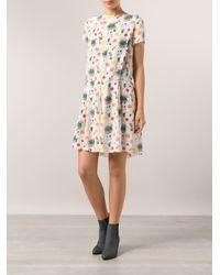 SUNO - White Box Pleat Dress - Lyst