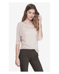 Express - Gray Mesh Dolman Sweater - Lyst