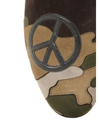 Kardinale - Black Peace Patch Camouflage Suede Loafers for Men - Lyst