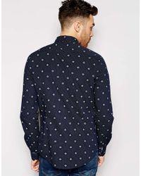Ben Sherman | Blue Mosaic Geo Pattern Long Sleeve Button Down Shirt for Men | Lyst