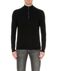 Michael Kors | Black Ribbed Wool And Cotton-blend Jumper for Men | Lyst