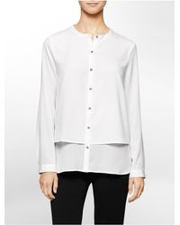 Calvin Klein - White Label Double Layer Button Front Top - Lyst