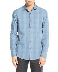 Calibrate - Blue Trim Fit Plaid Sport Shirt for Men - Lyst