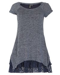 Izabel London | Gray Knit Tunic Top With Frill Hemline | Lyst