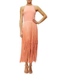 Tamara Mellon - Pink Sleeveless Fringe Column Dress - Lyst