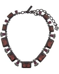 Oscar de la Renta | Brown Bordeaux Swarovski Crystal Octagon Necklace - For Women | Lyst