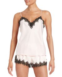 Flora Nikrooz Blue Lace-accented Camisole And Shorts Set