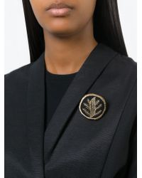 Ann Demeulemeester | Black Embroidered Round Brooch | Lyst