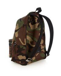 Saint Laurent Green Camouflage-print Studded Canvas Backpack for men