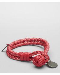 Bottega Veneta Red Leather Bracelet