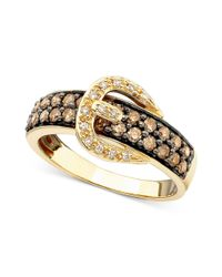 Le Vian - Brown Chocolate Diamond (5/8 Ct. T.w.) And White Diamond Accent Buckle Ring In 14k Gold - Lyst