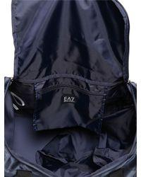 EA7 Blue Nylon Canvas Duffle Bag