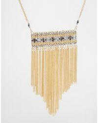 ASOS | Metallic Bead And Chain Long Pendant Necklace | Lyst
