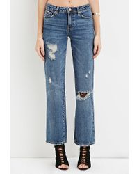 Forever 21 | Blue Mid-rise Wide Leg Cropped Jeans | Lyst