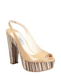 Prada | Natural Patent Leather and Wood Slingback Sandals | Lyst