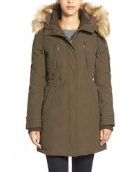 Vince Camuto | Green Faux Fur Trim Down & Feather Fill Parka | Lyst