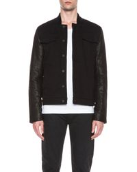T By Alexander Wang - Black Mens Jean Cotton Jacket with Leather Sleeves - Lyst