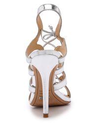 Schutz - Metallic Dubiana Lace Up Sandals - Prata - Lyst