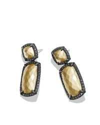 David Yurman | Metallic Double-drop Earrings With 18k Gold And Black Diamonds | Lyst
