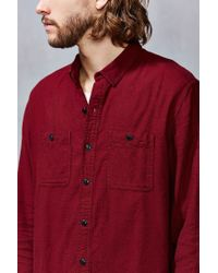 Stapleford Purple Solid Dobby Flannel Button-down Workshirt for men