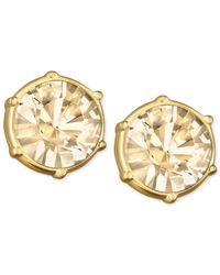 Swarovski | Metallic Gold-tone Golden Shadow Crystal Stud Earrings | Lyst