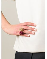 Alexander McQueen - Red Floral Cocktail Ring - Lyst