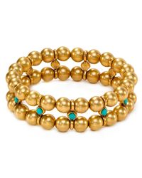 Ralph Lauren - Metallic Lauren Double Row Bead Bracelet - Lyst