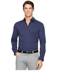 Calvin Klein - Blue Shadow-Check Slim-Fit Shirt for Men - Lyst