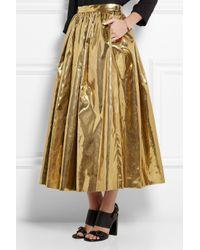 MSGM Metallic Pleated Lamé Midi Skirt