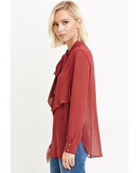 Forever 21 | Brown Flounced Self-tie Neckline Blouse | Lyst