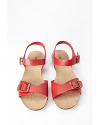 Forever 21 - Red Buckled Faux Leather Sandal - Lyst